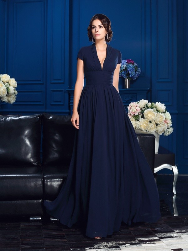 A-Line Chiffon V-neck Short Sleeves Floor-Length With Applique Mother of the Bride Dresses