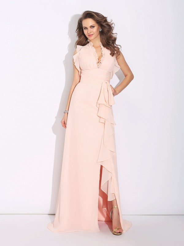 A-Line Chiffon High Neck Sleeveless Sweep/Brush Train With Ruffles Dresses