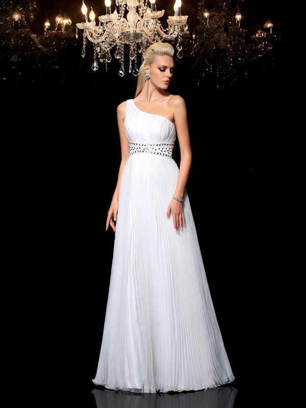 A-Line Organza One-Shoulder Sleeveless Floor-Length With Beading Dresses