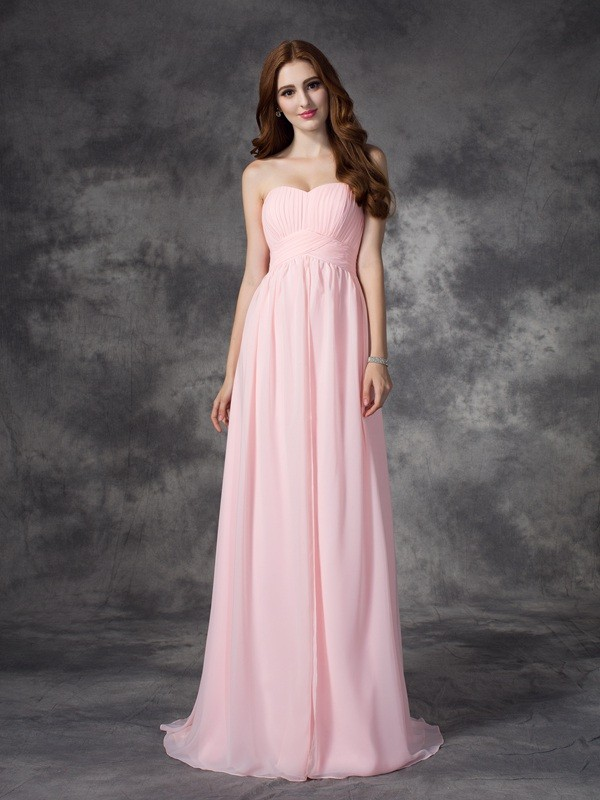 A-Line Chiffon Sweetheart Sleeveless Sweep/Brush Train With Ruched Dresses