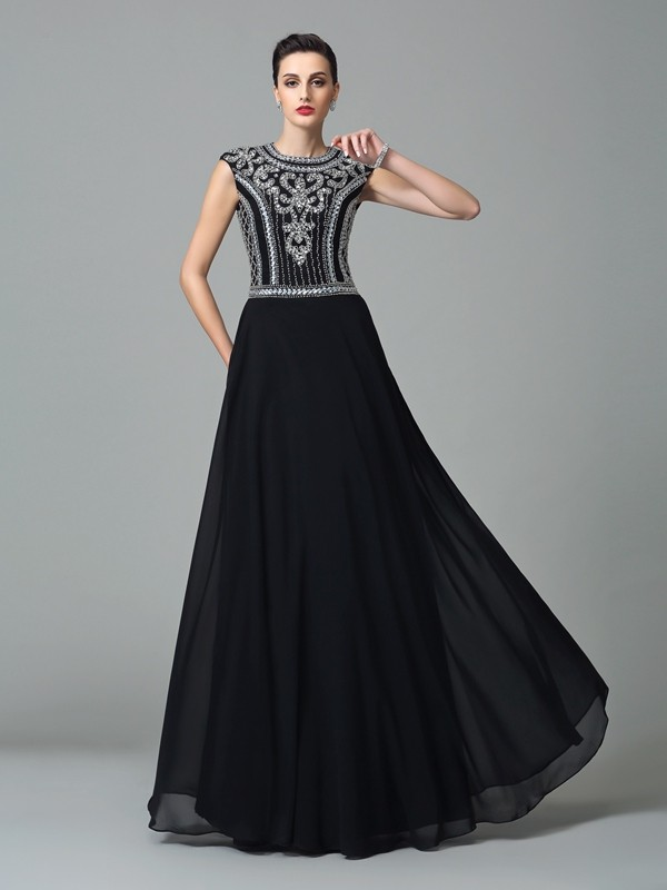 A-Line Chiffon Jewel Short Sleeves Floor-Length With Beading Dresses