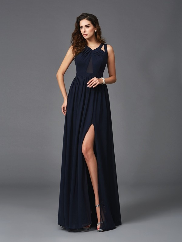 A-Line Chiffon Straps Sleeveless Floor-Length With Ruffles Dresses