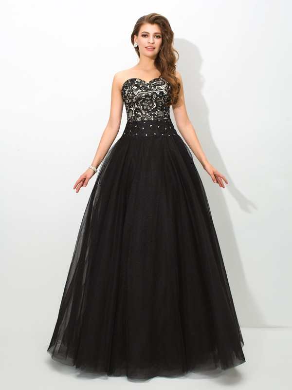 Ball Gown Net Sweetheart Sleeveless Floor-Length With Lace Quinceanera Dresses