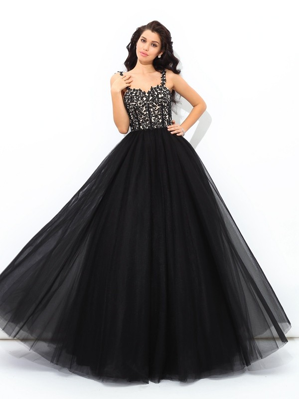 Ball Gown Net Straps Sleeveless Floor-Length With Applique Quinceanera Dresses