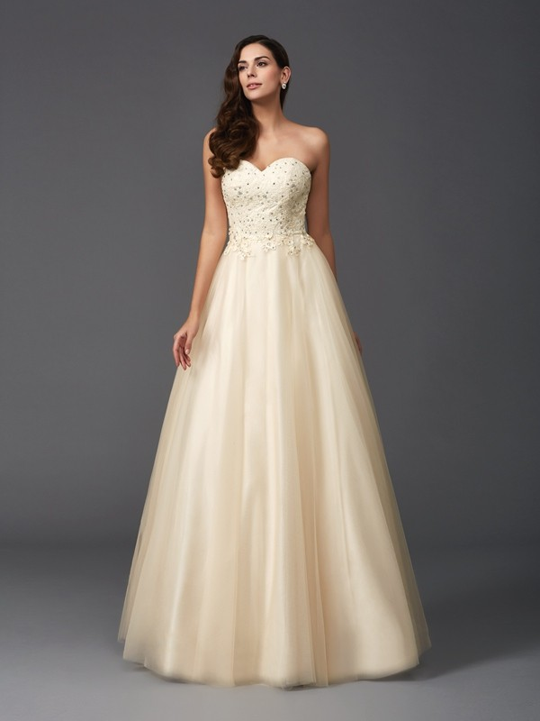 A-Line Net Sweetheart Sleeveless Floor-Length With Beading Dresses