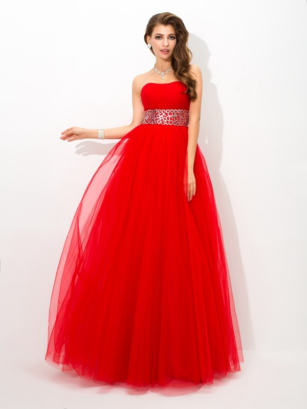 Ball Gown Net Strapless Sleeveless Floor-Length With Beading Quinceanera Dresses
