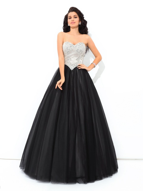 Ball Gown Net Sweetheart Sleeveless Floor-Length With Paillette Quinceanera Dresses