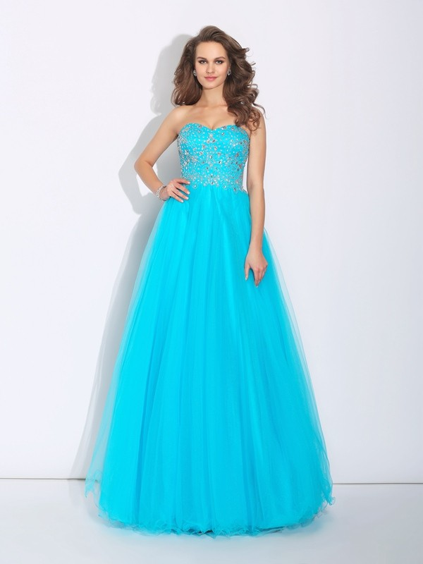 A-Line Satin Sweetheart Sleeveless Floor-Length With Rhinestone Dresses
