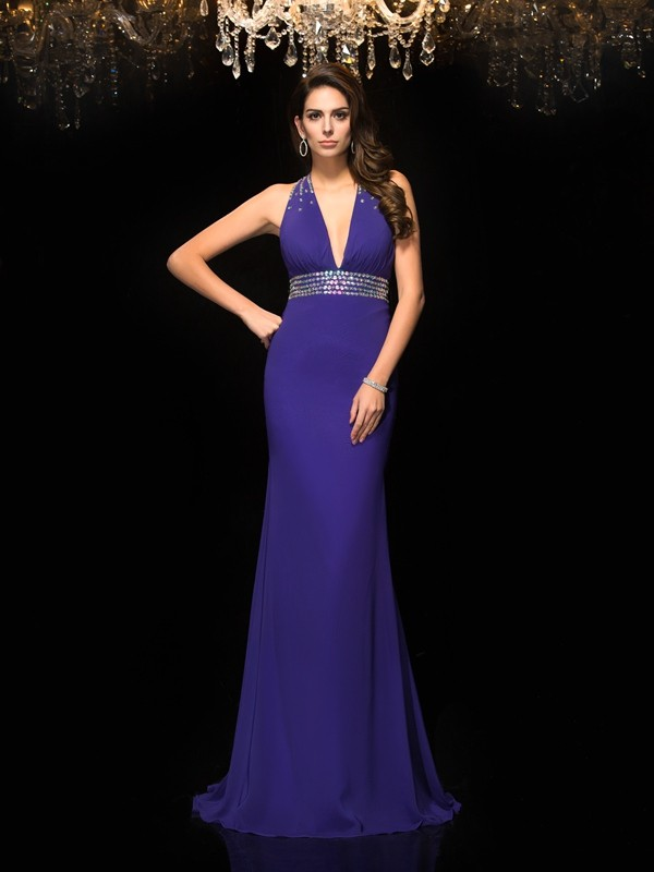 Mermaid Chiffon V-neck Sleeveless Sweep/Brush Train With Beading Dresses