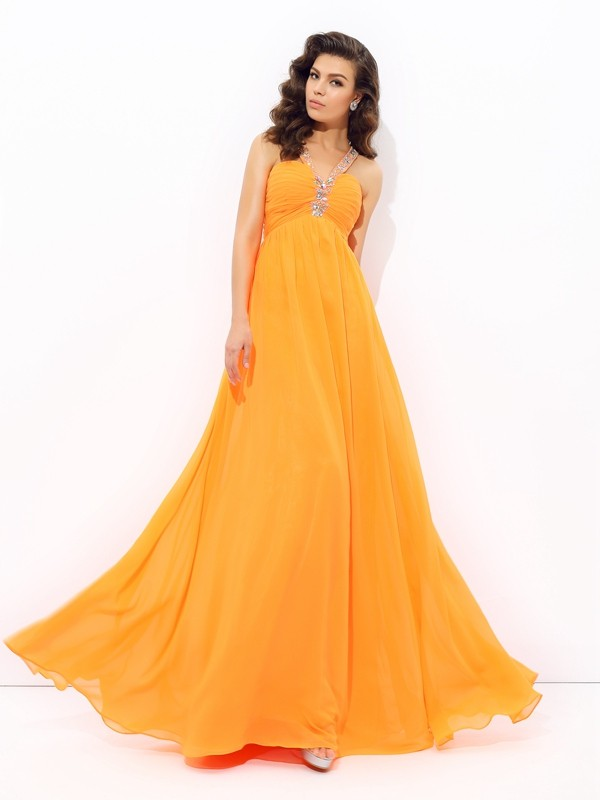 A-Line Chiffon V-neck Sleeveless Floor-Length With Rhinestone Dresses