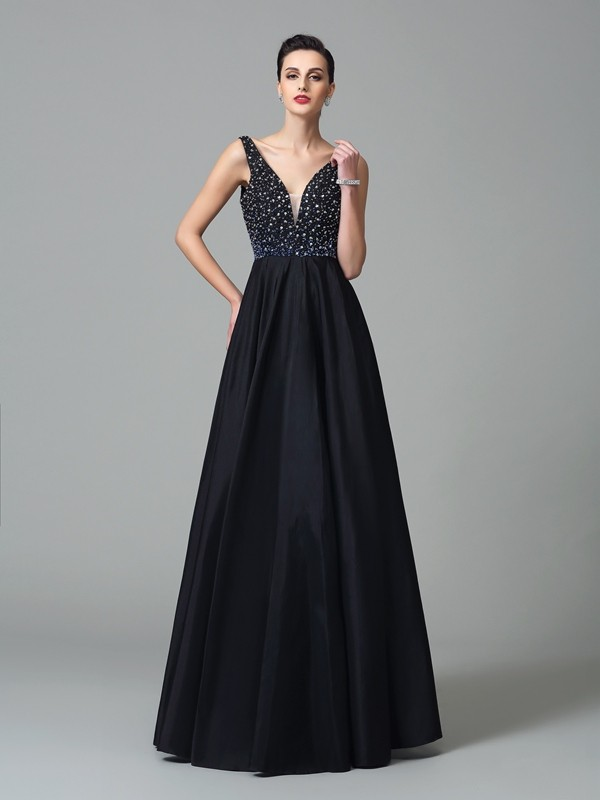 A-Line Taffeta Straps Sleeveless Floor-Length With Beading Dresses