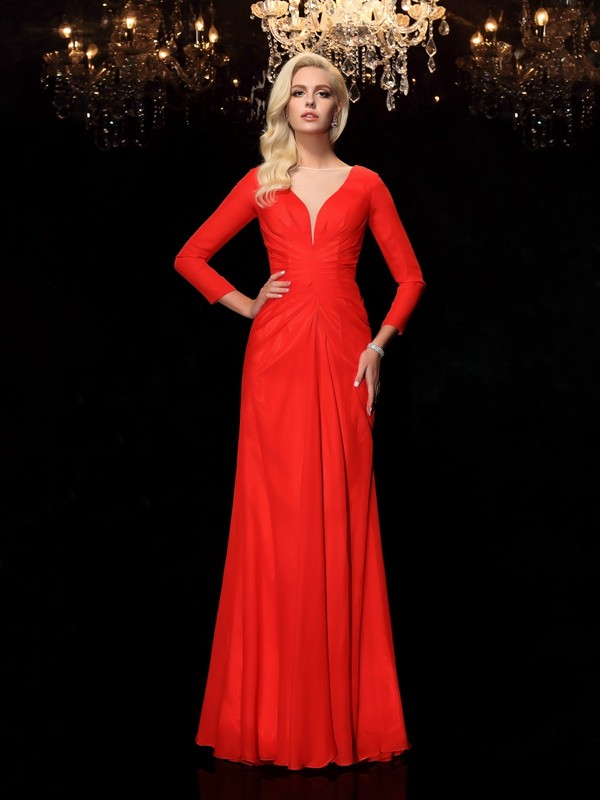 Sheath Chiffon Bateau Long Sleeves Floor-Length With Ruched Dresses