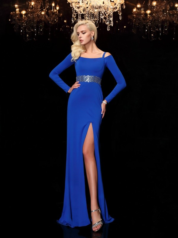 Sheath Spandex Bateau Long Sleeves Sweep/Brush Train With Beading Dresses