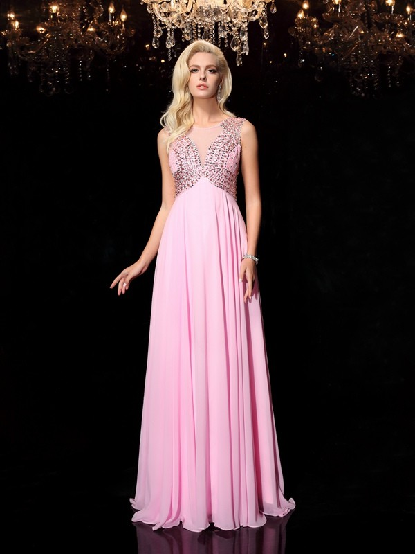A-Line Chiffon Scoop Sleeveless Floor-Length With Beading Dresses