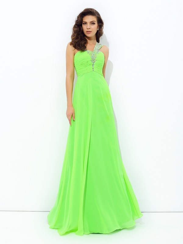A-Line Chiffon One-Shoulder Sleeveless Floor-Length With Rhinestone Dresses