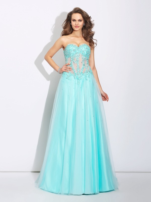 A-Line Net Sweetheart Sleeveless Sweep/Brush Train With Lace Dresses