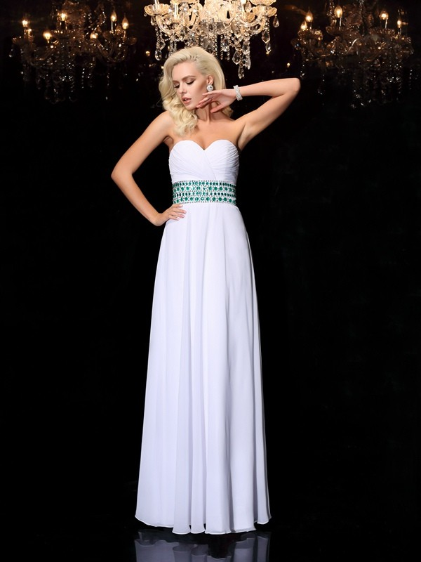 A-Line Chiffon Sweetheart Sleeveless Floor-Length With Rhinestone Dresses