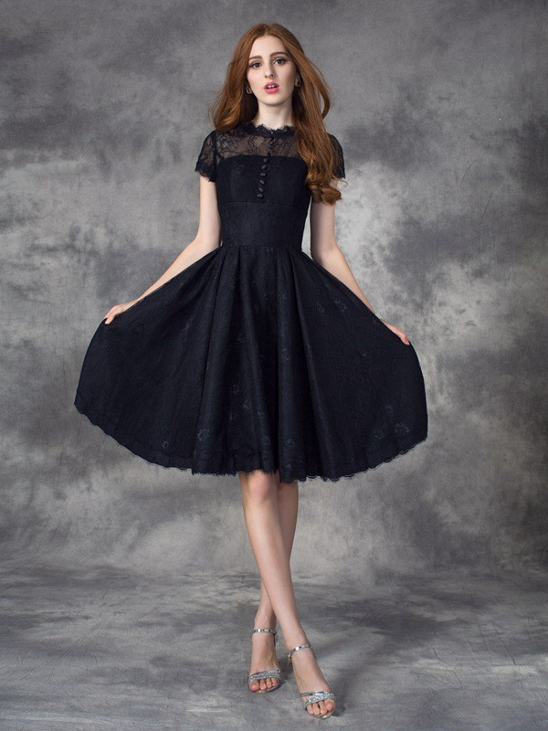 A-Line Lace Jewel Short Sleeves Knee-Length With Lace Dresses