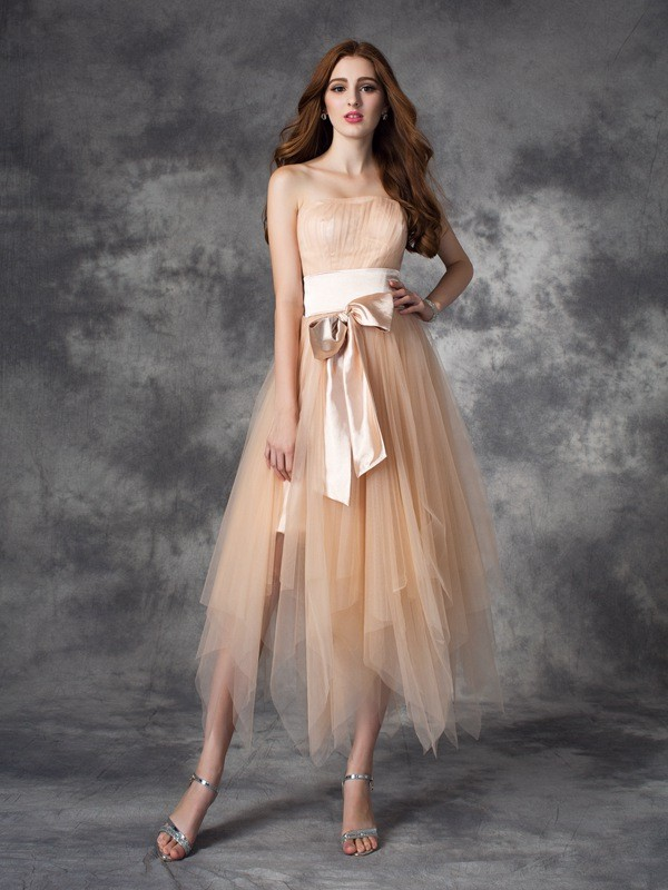 A-Line Elastic Woven Satin Strapless Sleeveless Ankle-Length With Bowknot Dresses