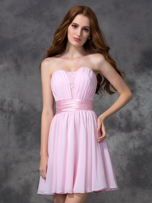 A-Line Chiffon Sweetheart Sleeveless Short/Mini With Ruched Dresses