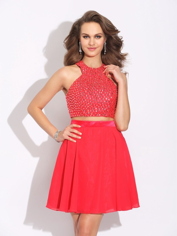 A-Line Chiffon Jewel Sleeveless Short/Mini With Crystal Two Piece Dresses
