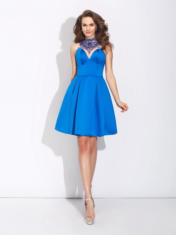 A-Line Satin High Neck Sleeveless Short/Mini With Beading Dresses
