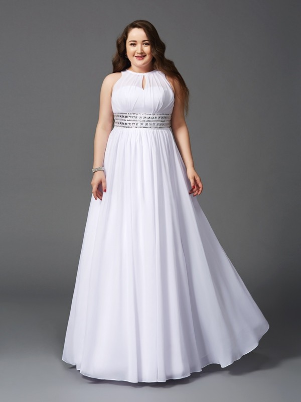 A-Line Chiffon Jewel Sleeveless Floor-Length With Beading Plus Size Dresses