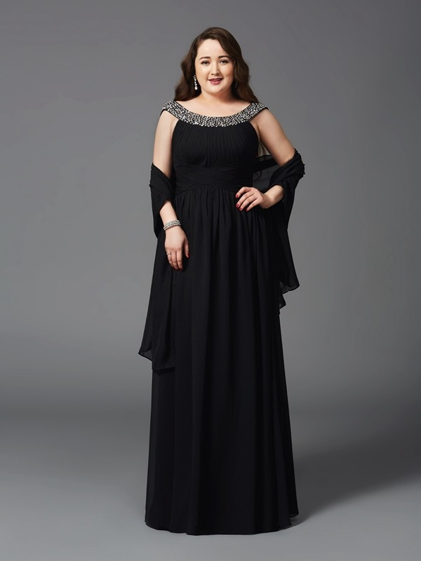 A-Line Chiffon Scoop Sleeveless Floor-Length With Rhinestone Plus Size Dresses
