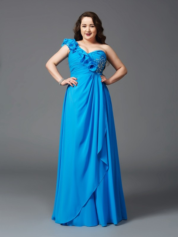 A-Line Chiffon One-Shoulder Sleeveless Floor-Length With Rhinestone Plus Size Dresses