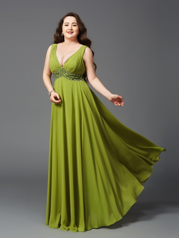 A-Line Chiffon Straps Sleeveless Floor-Length With Rhinestone Plus Size Dresses