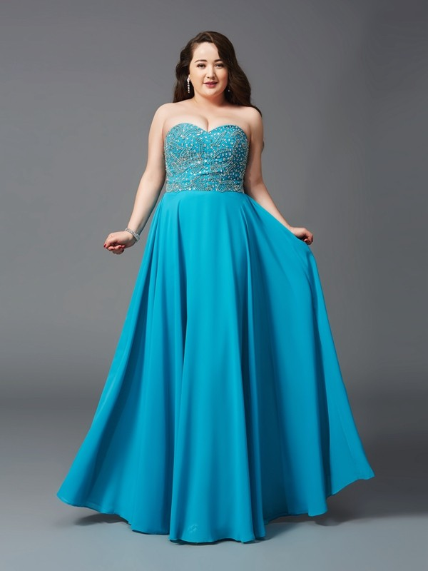 A-Line Chiffon Sweetheart Sleeveless Floor-Length With Beading Plus Size Dresses