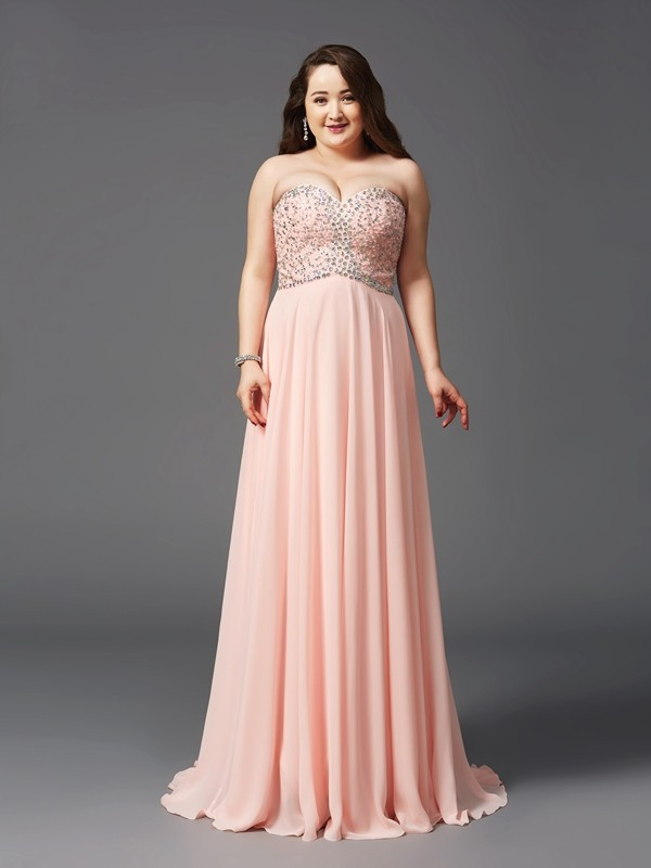 A-Line Chiffon Sweetheart Sleeveless Sweep/Brush Train With Beading Plus Size Dresses