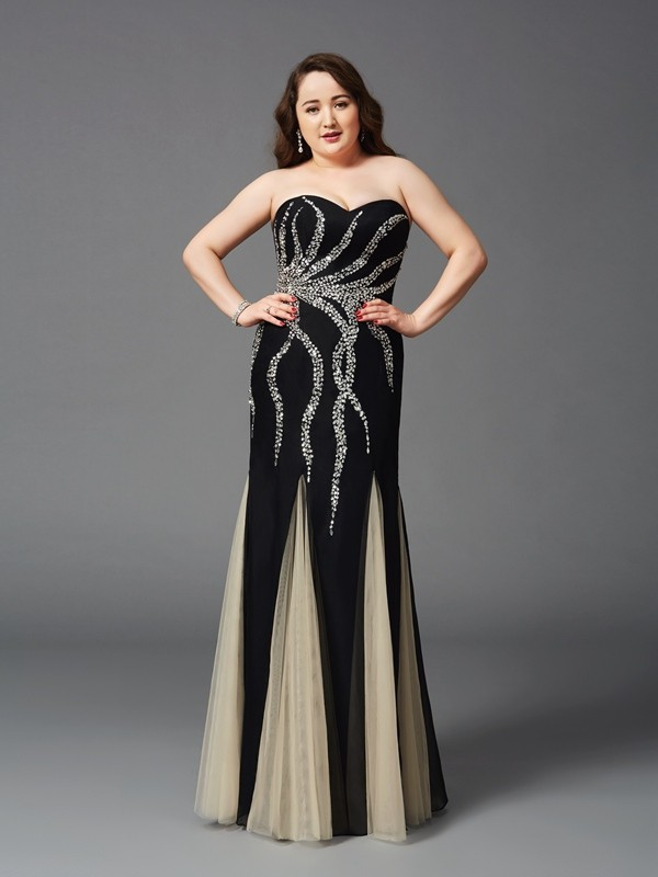 Sheath Chiffon Sweetheart Sleeveless Floor-Length With Beading Plus Size Dresses