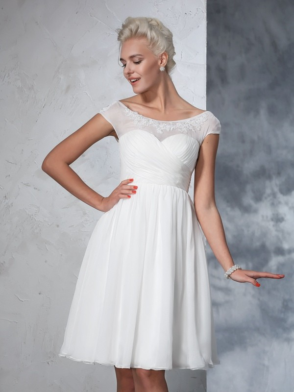 A-Line Chiffon Sheer Neck Short Sleeves Knee-Length With Ruched Wedding Dresses