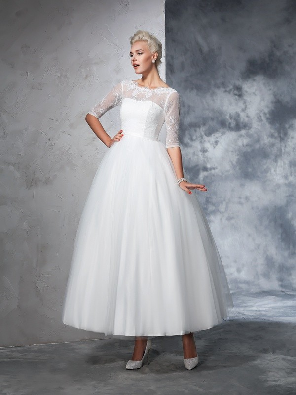 Ball Gown Net Bateau 1/2 Sleeves Ankle-Length With Lace Wedding Dresses
