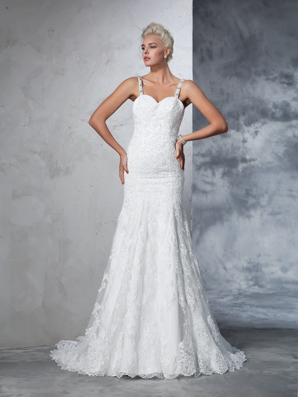 Mermaid Lace Spaghetti Straps Sleeveless Chapel Train With Lace Wedding Dresses