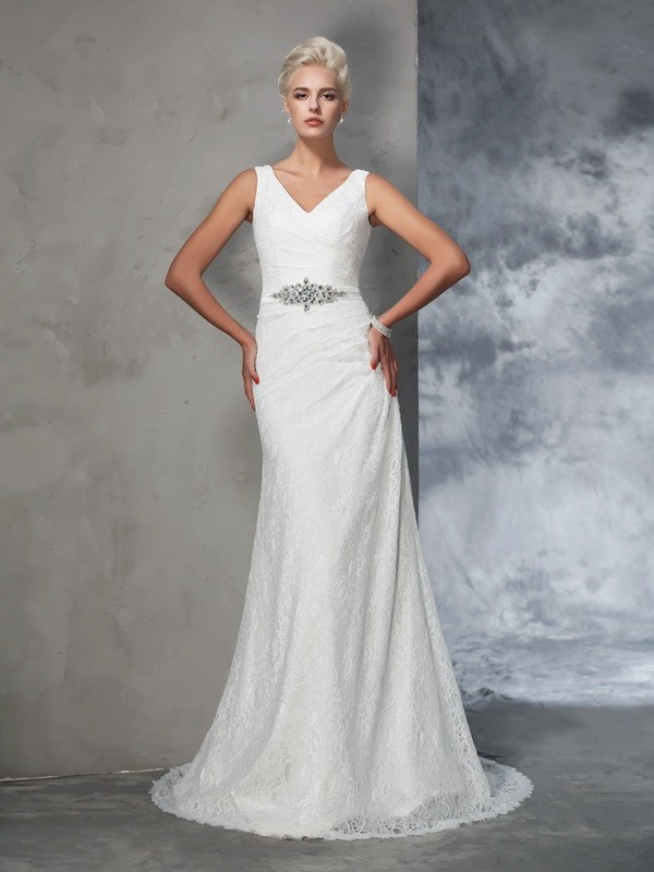 Mermaid Lace V-neck Sleeveless Court Train With Lace Wedding Dresses