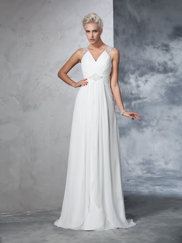 A-Line Chiffon V-neck Sleeveless Sweep/Brush Train With Ruched Wedding Dresses