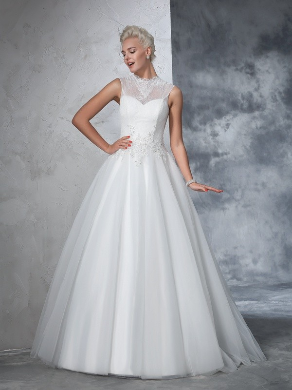 Ball Gown Net High Neck Sleeveless Floor-Length With Applique Wedding Dresses