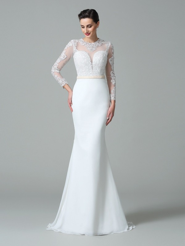 Mermaid Satin Jewel Long Sleeves Sweep/Brush Train With Lace Wedding Dresses