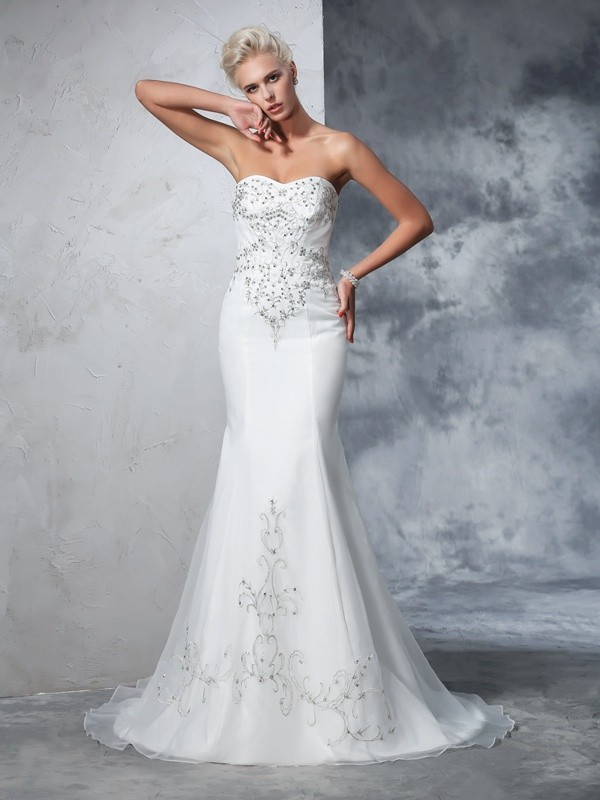 Mermaid Satin Sweetheart Sleeveless Court Train With Beading Wedding Dresses