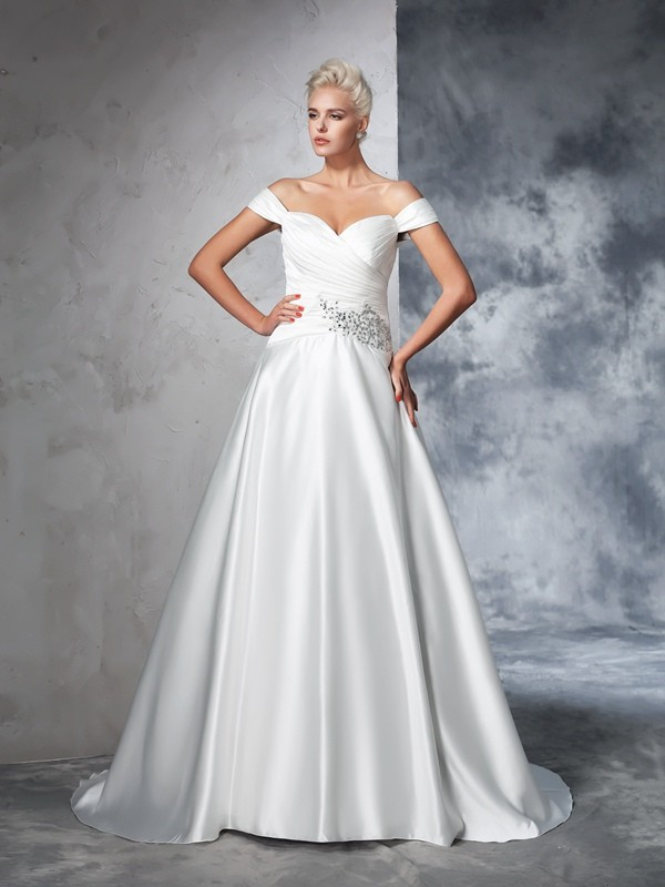 Ball Gown Taffeta Off-the-Shoulder Sleeveless Chapel Train With Ruched Wedding Dresses