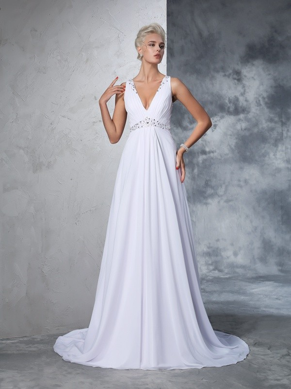 A-Line Chiffon V-neck Sleeveless Cathedral Train With Beading Wedding Dresses