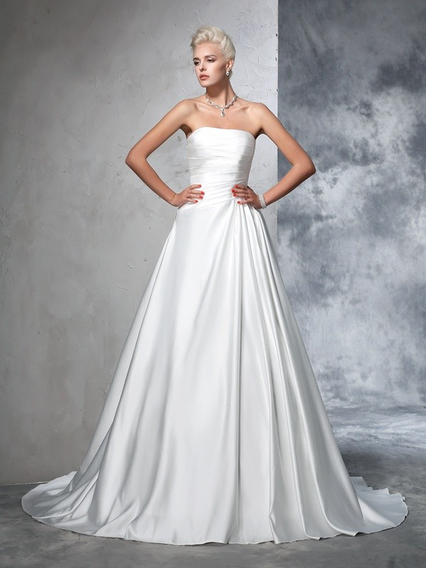 Ball Gown Satin Strapless Sleeveless Chapel Train With Ruched Wedding Dresses