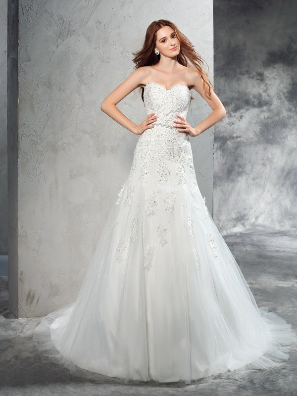 Sheath Satin Sweetheart Sleeveless Court Train With Applique Wedding Dresses