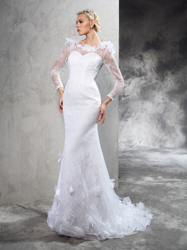 Sheath Satin Sheer Neck Long Sleeves Court Train With Hand-Made Flower Wedding Dresses