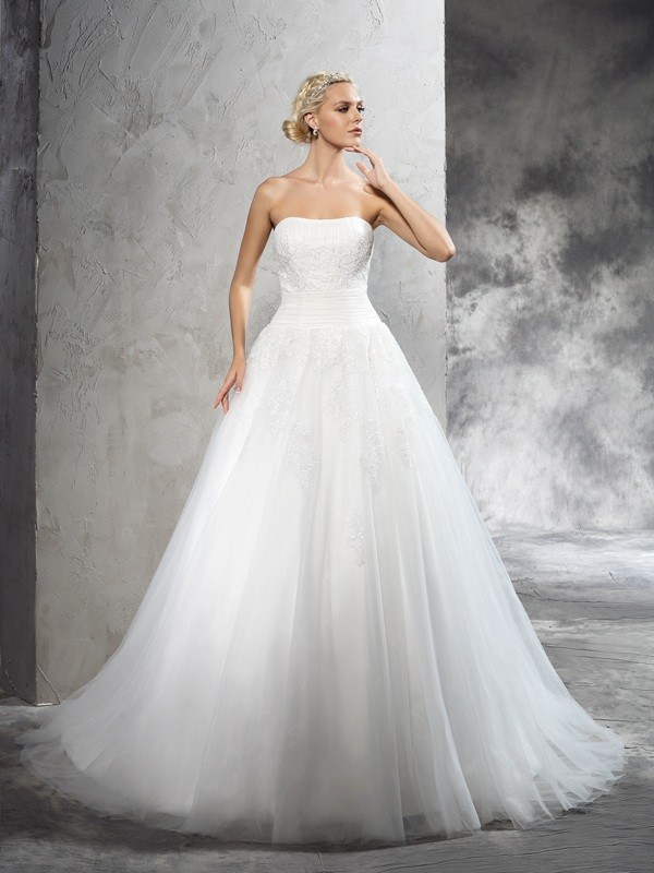 Ball Gown Satin Strapless Sleeveless Court Train With Applique Wedding Dresses