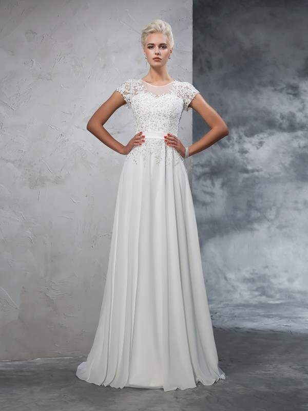 A-Line Chiffon Sheer Neck Short Sleeves Sweep/Brush Train With Applique Wedding Dresses