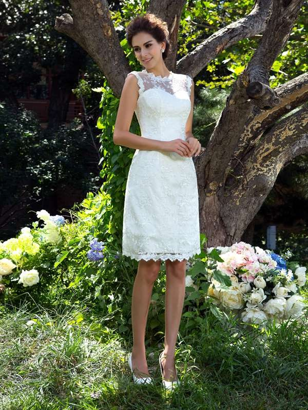 A-Line Satin Sheer Neck Sleeveless Knee-Length With Applique Wedding Dresses