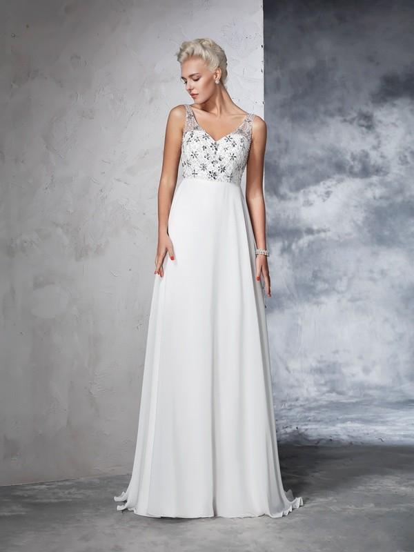 A-Line Chiffon V-neck Sleeveless Sweep/Brush Train With Beading Wedding Dresses